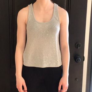 Gray sequined tank top
